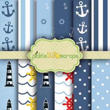 Craft Papers 8.5x11 Nautical Papers Nautical Printable Nautical Backgrounds Nautical Party Printable Papers Ocean Papers INSTANT DOWNLOAD