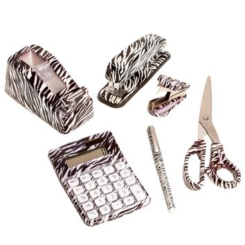 6 Set: Cheetah Animal Safari Print Office Kit Stapler Staple Remover Scissors Tape Dispenser Calculator & Pen