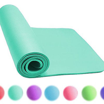 Thick Exercise Yoga Floor Mat Nbr 24 X 71 Inches Great for Camping Cardio Workouts Pilates Gymnastics (Teal)