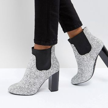 Call It Spring Glitter Heeled Ankle Boots at asos.com