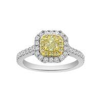 7/8ct tw Diamond Halo Ring in 18K White and Yellow Gold - Jewelry & Gifts