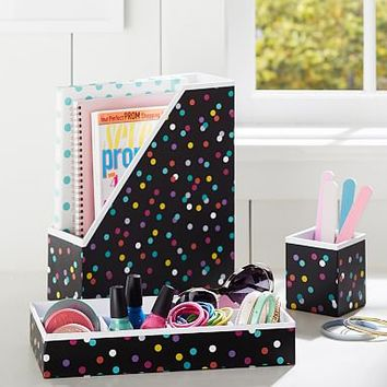 Printed Desk Accessories- Black Confetti Dots