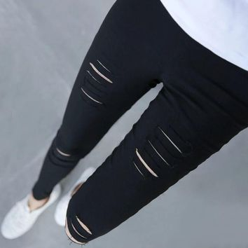 Women's Distressed Ripped Hole Jeans Stretch Slim Pencil Pants Trousers Leggings