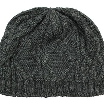Ferruccio Vecchi Men's Wool Blend Grey Cable Knit Beanie Cap