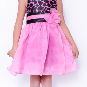 Koma-Va Girl's Sleeveless Pink and Black Cheetah Print Party Dress