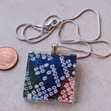 Multi color tie dye shibori japanese fabric pendant necklace by UncommonFlair