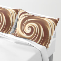 Chocolate milk cocktail spiral Pillow Sham by Natalia Bykova