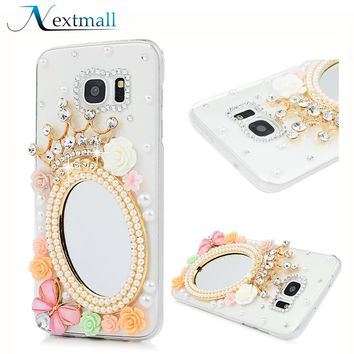 for Samsung Note8 S7 edge S6 edge S8 plus A5 A3 2017 Mirror Glitter Rhinestone Case Bling Diamond Phone Cases Mobile Phone Shell