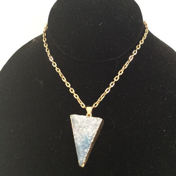 Blue Druzy Triangle Necklace, Blue Drusy Jewelry, Layering Necklace, Quartz Necklace, Boho Jewelry, Festival Necklace, statement necklace