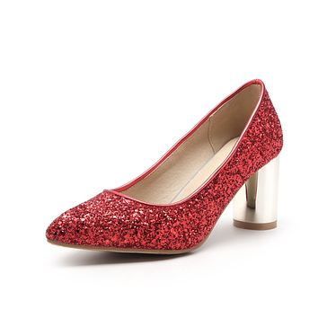 Glitter Chunky High Heel Pumps Wedding Shoes Woman 8869