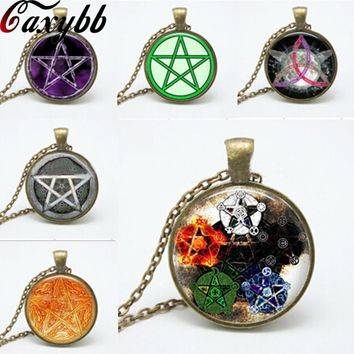 6 style personality Pentagram Wicca glass Pendant Necklace Occult charm necklaces pendants N150-155