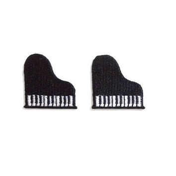 Set 2pcs. Black Mini Grand Piano New Iron Patch Embrodered Applique Size 2.9cm.x3cm.