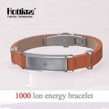 Hottime Power 4 in 1 Bo Elements Energy Wristband Balance Ion Magnetic Therapy Fashion Italian Genuine Leather Bracelets Crystal