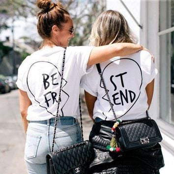 Hot Fashion Black White Print Letters Best Friend Tee Shire Top White