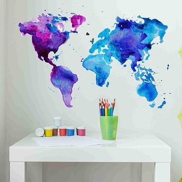 Watercolor World Map Wall Decal