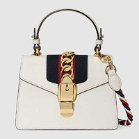 Gucci Sylvie Women's Series Of Elegant Leather Handbag Inclined Shoulder Bag