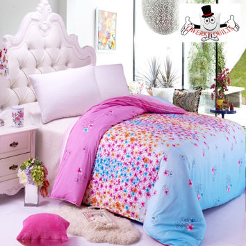Orchid Orange Floral Pink Bedding Set and Quilt Cover