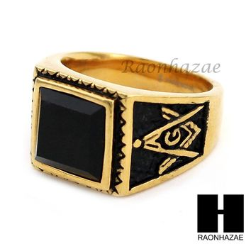 MEN 316L STAINLESS STEEL BLACK ONYX STONE GOLD BLACK RING SIZE 8-12 SR016G