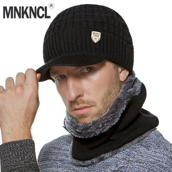 MNKNCL Winter Beanies Men Scarf Knitted Hat Cap Mask Gorras Bonnet Warm Baggy Winter Hat For Men Women Skullies Beanies Hats