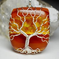 Dichroic Glass Tree of Life Pendant Wire Wrapped Yggdrasil Sunset Orange Fused Glass Celtic Family Tree Necklace Wire Wrapped Glass