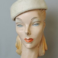 1950s Winter White Plush Felt Hat with Rhinestones - 21 inch head - Valerie Modes