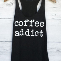 Coffee Addict Tank Top in Black