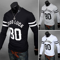 Good Luck 80 Slim Fit Crew Neck Men's Long Sleeve T-Shirt