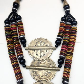 Beautiful West African Necklace w/three Baule Brass Pendants