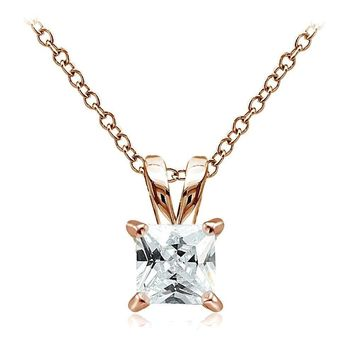 Rose Gold Tone over 925 Silver 2ct Cubic Zirconia 7mm Square Solitaire Necklace