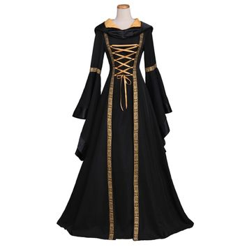 Woman's Renaissance Medieval Gothic Long Hooded Dress Custom Cosplay