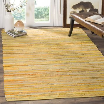 Safavieh Hand-Woven Rag Cotton Rug Yellow/ Multicolored Cotton Rug (4' x 6') | Overstock.com Shopping - The Best Deals on 3x5 - 4x6 Rugs