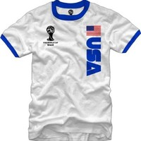 2014 Fifa World Cup Ringer Jersey USA T-Shirt Large White
