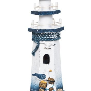 "Seabird Wooden Lighthouse 10"" High Nautical Themed Rooms Lighthouse Home Decor"