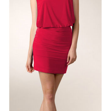 Red Goddess Greek Dress Short Low Waisted Wide Straps Round Neck