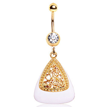 Gold Plated White & Gold Triangle Navel Ring