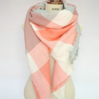 Peach, Grey and Cream Blanket Scarf