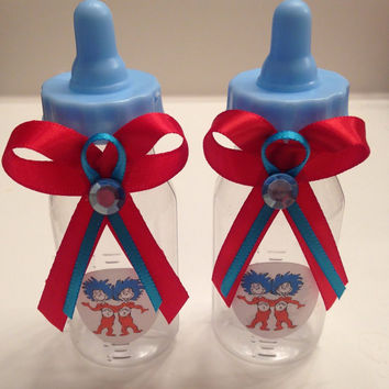 24 Dr. Seuss Blue Baby Shower Fillable Bottle Favors Thing 1- Thing 2 theme