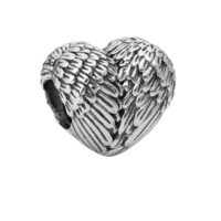 New Silver Plated Bead Charm Vintage Angelic Feathers Wings Beads Fit Women Pandora Bracelets & Bangles DIY Jewelry yw15774