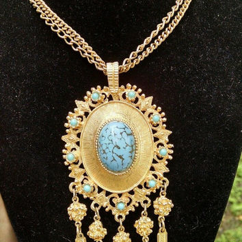 Vintage Southwest Style Necklace - Faux Turquoise Statement Piece - Retro Runway Necklace - 1960's 1970's Vintage Jewelry