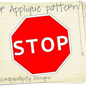 Stop Sign Applique Pattern - Road Applique Template / Cars Fabric / DIY Quilt Pattern / Kids Baby Clothing Design / Childrens Clothing AP50