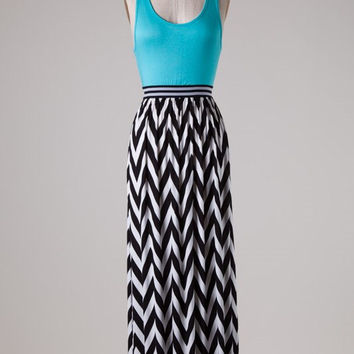 Chevron Bottom Solid Top Maxi Dress - Aqua