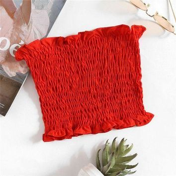 DCCKR2 Summer Sexy Sleeveless Smocked Red Tube Top I