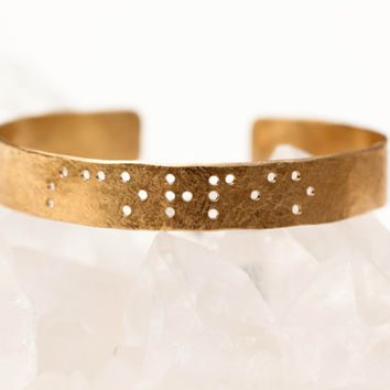 SISTERS : Braille Engraved Cuff Brass