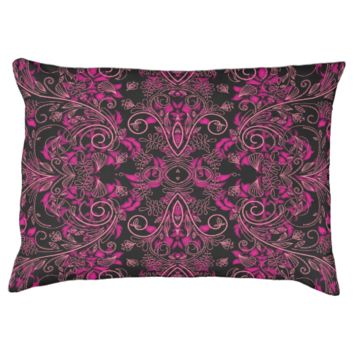 Pink damask and Vines Large Dog Bed