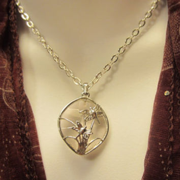 Silver Necklace with Dragonfly Pendant