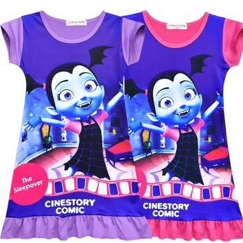 Cute Vampire Vampirina Girls Dresses 2018 Floral Little Mermaid Princess Dresses Children Princess Dress For Party Wedding Dress