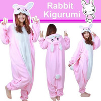 Cute Pink Rabbit Bunny Fleece Onesuit Kigurumi Pajamas Lolita Animal Sleepwear Cosplay Costume
