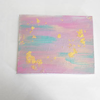 Abstract splatter pink skies, gold foil, acrylic canvas painting for trendy girls room, dorm room, or home decor