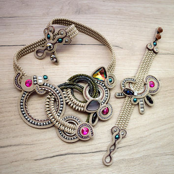 Light cream soutache set with czech crystals. Handmade soutache bracelet and necklace.