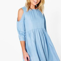 Jessie Open Shoulder Denim Smock Dress